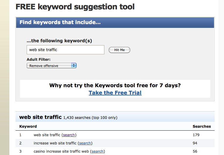 search engine keyword tools to improve web site traffic