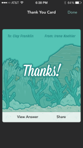 Clay Franklin gets a Thank you message from a Jelly